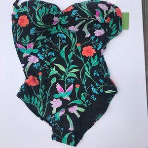 Kate Spade black floral one-piece bathing suit